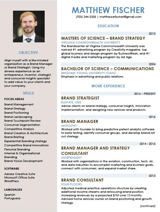 Matthew Fischer Portfolio  Brand Strategist Resume